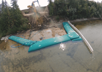 Water management using dam and excavator helping in it
